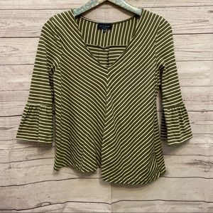 Lucky Brand | Olive Green Striped Flare Sleeve